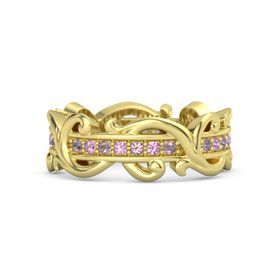 14K Yellow Gold Ring with Rhodolite Garnet and Pink Tourmaline