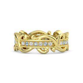 14K Yellow Gold Ring with White Sapphire and Blue Topaz