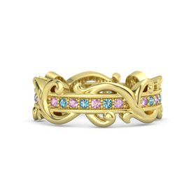 14K Yellow Gold Ring with Pink Sapphire and London Blue Topaz