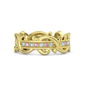 14K Yellow Gold Ring with Aquamarine and Pink Sapphire