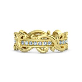 14K Yellow Gold Ring with Blue Topaz and Aquamarine