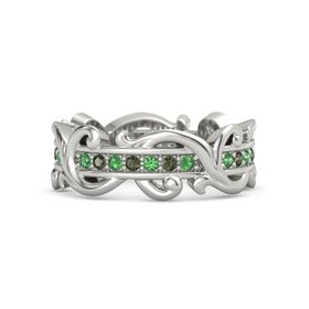 18K White Gold Ring with Emerald and Green Tourmaline