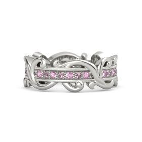 18K White Gold Ring with Pink Sapphire and Rhodolite Garnet