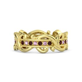18K Yellow Gold Ring with Red Garnet and Pink Sapphire