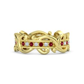 18K Yellow Gold Ring with Ruby and Diamond