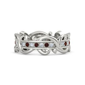 Palladium Ring with Diamond and Red Garnet