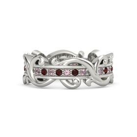 Palladium Ring with Rhodolite Garnet and Red Garnet
