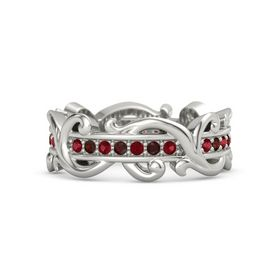 Palladium Ring with Ruby and Red Garnet