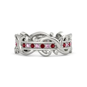 Palladium Ring with Ruby and Pink Sapphire