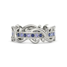 Palladium Ring with Blue Sapphire and Iolite