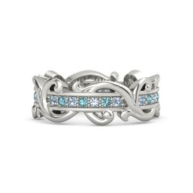 Palladium Ring with Blue Topaz and London Blue Topaz