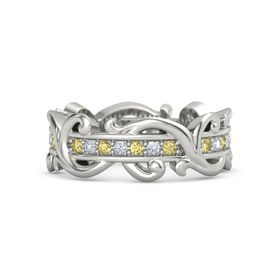 Palladium Ring with Yellow Sapphire and Diamond
