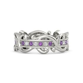 Platinum Ring with Amethyst and White Sapphire