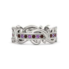 Platinum Ring with Red Garnet and Amethyst