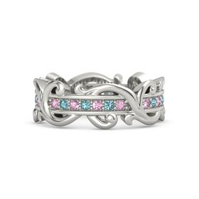 Platinum Ring with Pink Sapphire and London Blue Topaz