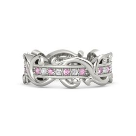 Platinum Ring with Pink Sapphire and White Sapphire