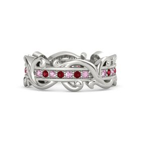 Platinum Ring with Pink Sapphire and Ruby