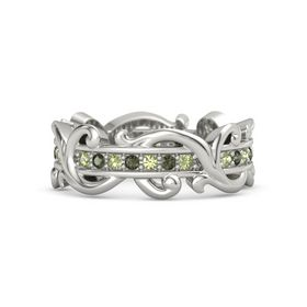 Platinum Ring with Peridot and Green Tourmaline