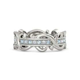 Platinum Ring with Aquamarine and Diamond