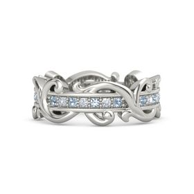 Platinum Ring with Blue Topaz and Diamond