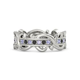 Platinum Ring with Tanzanite and Black Diamond