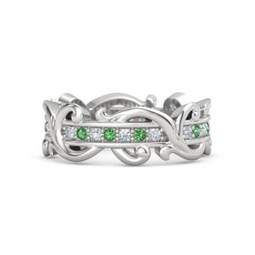 Sterling Silver Ring with Diamond and Emerald