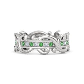 Sterling Silver Ring with Emerald and Diamond