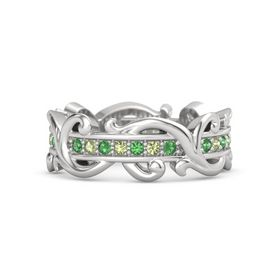 Sterling Silver Ring with Emerald and Peridot
