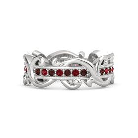 Sterling Silver Ring with Red Garnet and Ruby