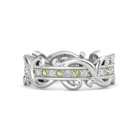 Sterling Silver Ring with White Sapphire and Peridot
