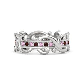 Sterling Silver Ring with Pink Sapphire and Red Garnet
