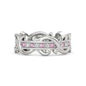 Sterling Silver Ring with Pink Sapphire and White Sapphire