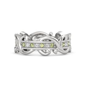 Sterling Silver Ring with Peridot and White Sapphire