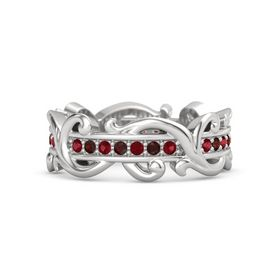 Sterling Silver Ring with Ruby and Red Garnet