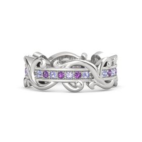 Sterling Silver Ring with Tanzanite and Amethyst