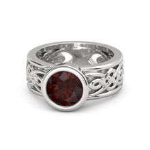 Round Red Garnet Sterling Silver Ring