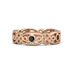 18K Rose Gold Ring with Black Diamond