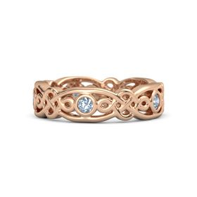 18K Rose Gold Ring with Blue Topaz