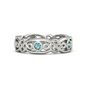 18K White Gold Ring with London Blue Topaz