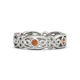 18K White Gold Ring with Fire Opal