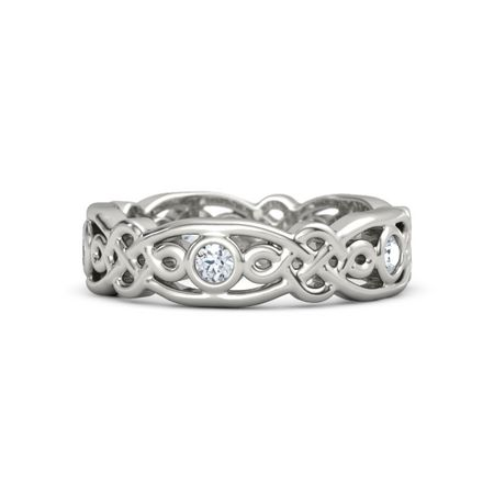 8a9716d5e 14K White Gold Ring with Diamond | Brilliant Alhambra Band | Gemvara