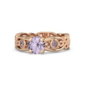 Round Rose de France 14K Rose Gold Ring with Rhodolite Garnet