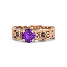 Round Amethyst 14K Rose Gold Ring with Smoky Quartz