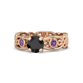 Round Black Diamond 14K Rose Gold Ring with Amethyst