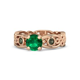 Round Emerald 14K Rose Gold Ring with Green Tourmaline