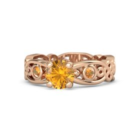 Round Citrine 14K Rose Gold Ring with Citrine