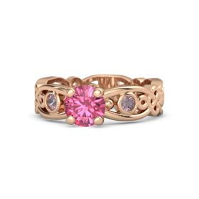Round Pink Tourmaline 14K Rose Gold Ring with Rhodolite Garnet