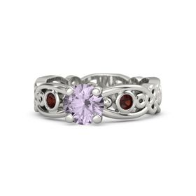 Round Rose de France 14K White Gold Ring with Red Garnet