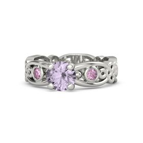 Round Rose de France 14K White Gold Ring with Pink Sapphire