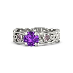 Round Amethyst 14K White Gold Ring with Rhodolite Garnet